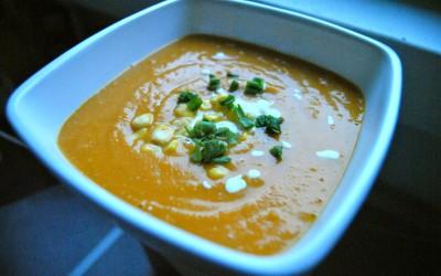 Bezglutenowa zupa krem z batatów i kukurydzy