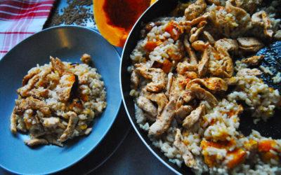 Bezglutenowe risotto z dynią i kurczakiem